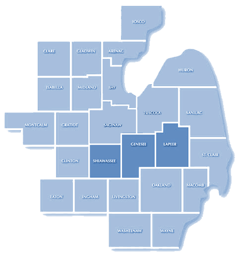 Map of Mid-Michigan highlighting the counties of Genesee, Lapeer and Shiawassee