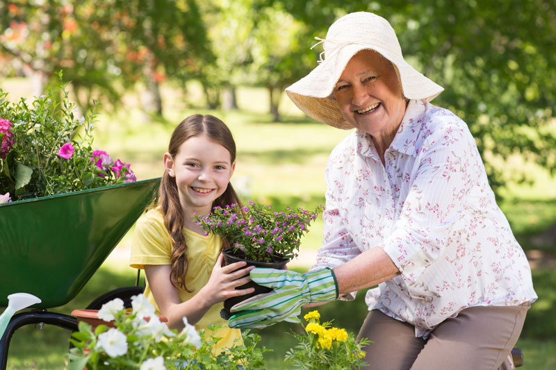 Photo of elderly woman gardening with child