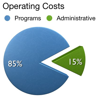 Operating Cost chart showing program costs, 85%, to administrative costs, 15%.